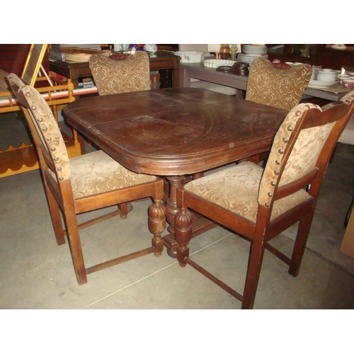 52 - Antique Solid Oak Table with Four Upholstered Matching Chairs...