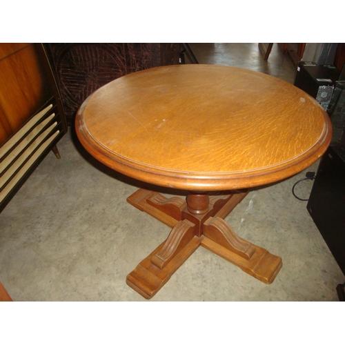 53 - Solid Oak Circular Coffee Table...
