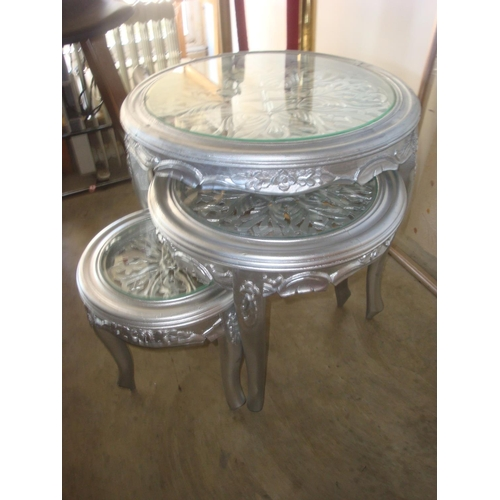 38 - Nest of Three Beech Wood Glass Topped Tables (New)...