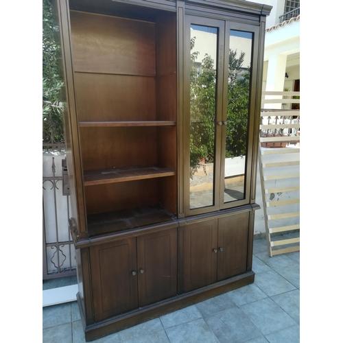 23 - Solid Walnut Custom Made Display Cabinet/Vitrine/Bookcase Unit 245 x 165 cm...