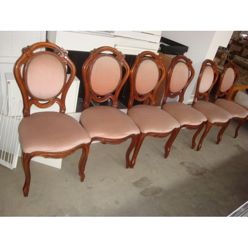 42 - x6 Classic Wooden Upholstered in Pink Velour Dining Chairs...