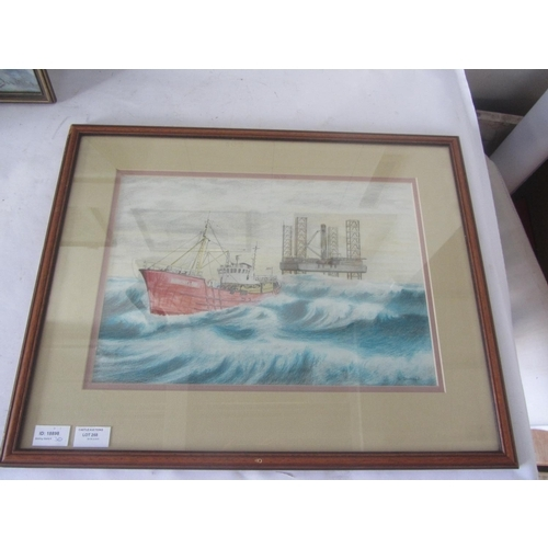 30 - Vintage Pencil Drawing Ship Signed 'Ridurant', Framed...