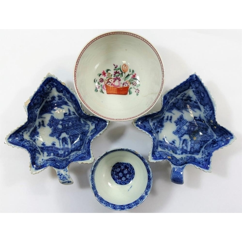 10 - Two 18th century blue and white transfer decorated leaf-shaped pickle dishes, 11.7cm, a small transf...