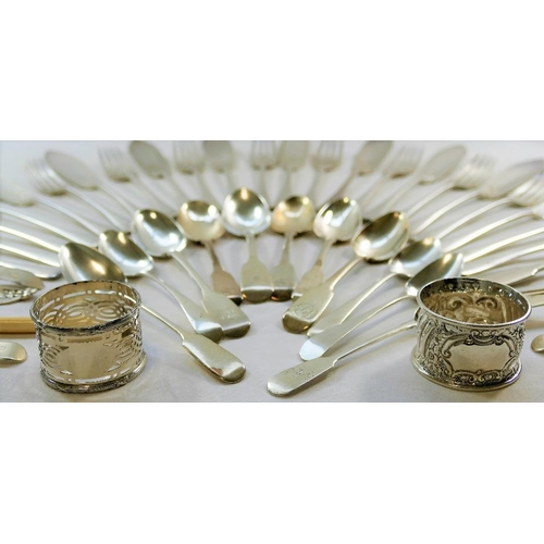 103 - A quantity of assorted 19th century and later silver cutlery including a pair of early Victorian sil...