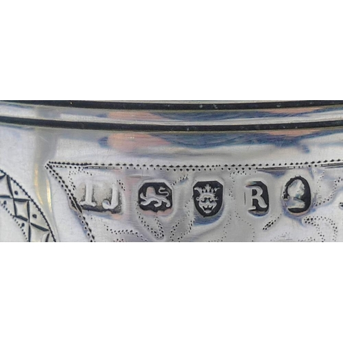 120 - A George III silver christening tankard, London 1812 by Thomas Johnson,the straight sides decorated ...
