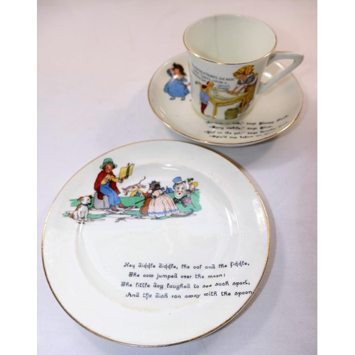 13 - An H M Williamson and Sons pottery child's cup saucer and plate transfer decorated with nursery rhym...