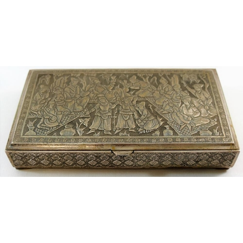 141 - A Persian silver coloured metal box with hinged lid, the lid decorated with figural scene, the sides...