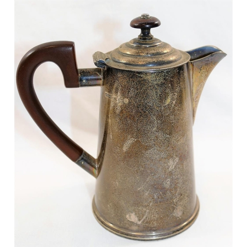 144 - A George V silver hot water jug, Sheffield 1934 by James Dixon and Son, of plain tapering form with ...