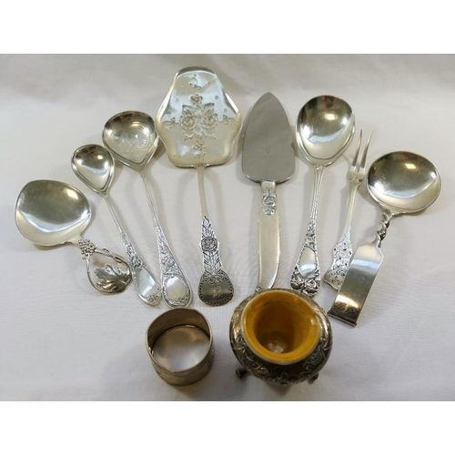 152 - A collection of Norwegian .830 standard silver items including serving spoons, a serving slice, a si...