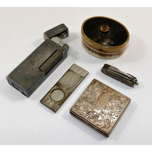 168A - A 19th century small oval horn box, with gem-set lid, 4.7cm x 3.7cm, a miniature folding photograph ...