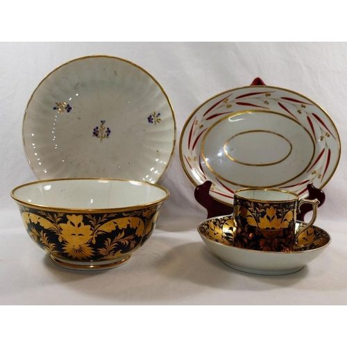 17 - Five pieces of 18th century and later Derby porcelain comprised of a matching coffee can, saucer and...