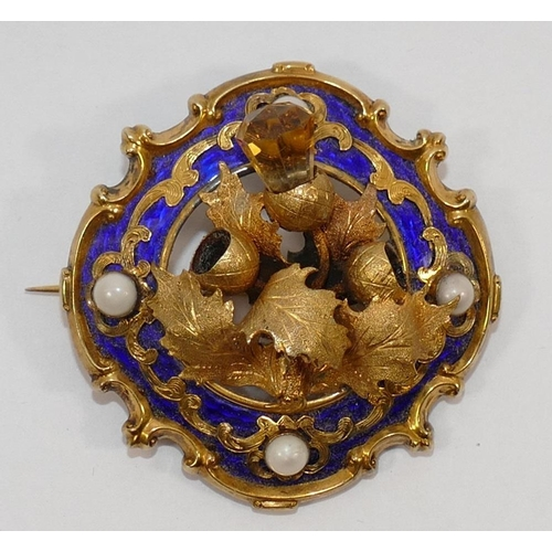 181 - A Victorian gold and enamel Scottish cloak brooch, with central thistle relief decoration, the back ...