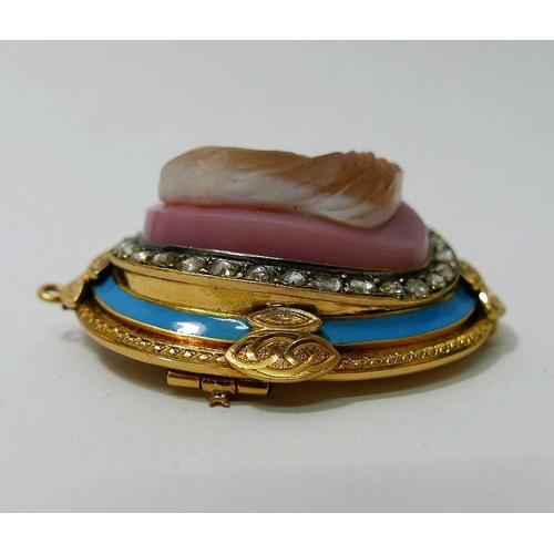 191 - A 19th Century Renaissance Revival, oval carved hardstone, gold, diamond and enamel brooch, the  cam...