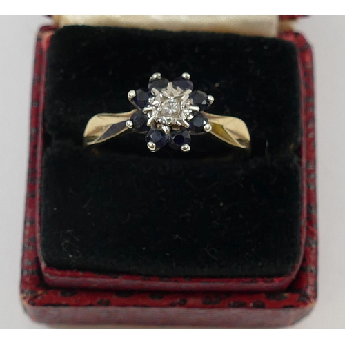 202 - A 9 carat gold sapphire and diamond flower head cluster ring, London 1978, the central round brillia...