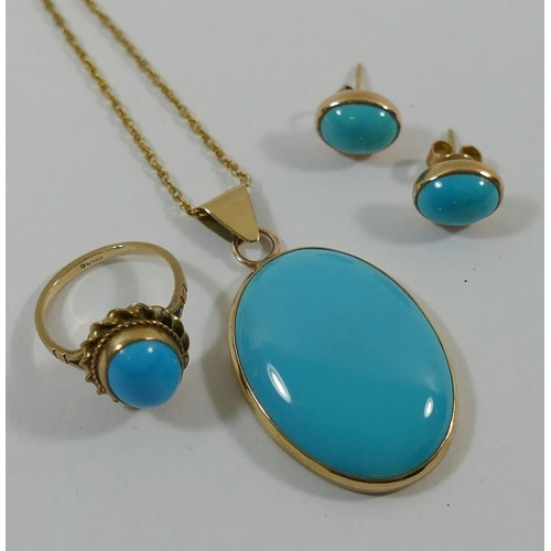 210 - A 9 carat gold turquoise set pendant and earrings suite, the oval turquoise cabochons in rub-over cl...