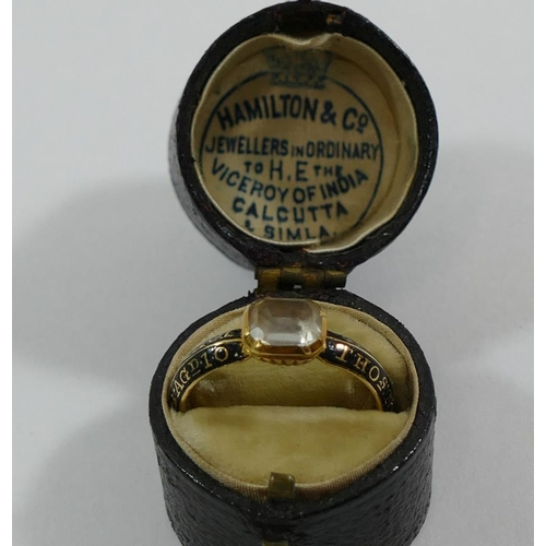 230 - Two George III gold and enamel mourning rings, each set with a single quartz and bearing the same in...