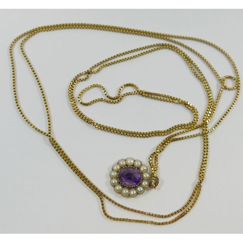 238 - A yellow metal box link guard chain with Victorian amethyst, half pearl and gold oval pendant attach...