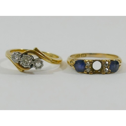 246 - An 18 carat gold sapphire and diamond carved half hoop ring (centre stone lacking), finger size L, a...
