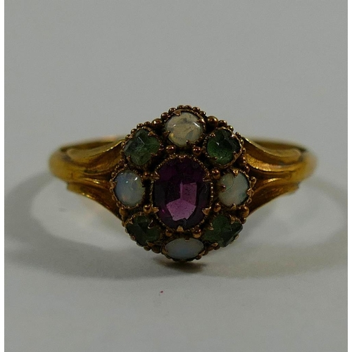 248 - A Victorian 15 carat gold amethyst, opal and emerald cluster ring, Birmingham 1865, the cluster, 9mm...