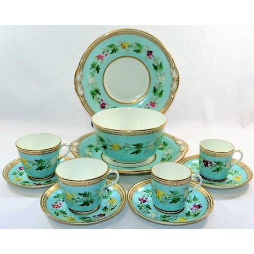25 - A 19th century Minton porcelain part tea and coffee service, with duck egg blue ground, hand painted...