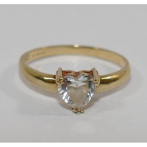 261 - A 14 carat gold heart-shaped cubic zirconia single stone ring, finger size O, 1.8g gross, and two 9 ...