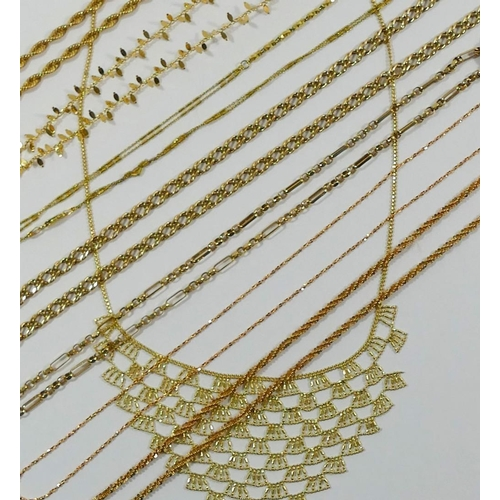 274 - Six modern 9 carat gold necklaces and chains, including two rose gold examples, combined weight 32.9...