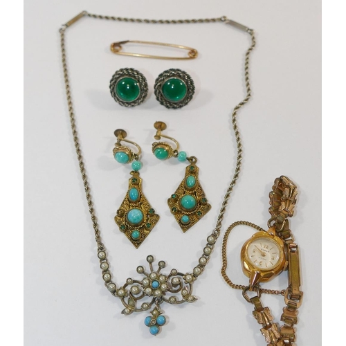 274A - A Victorian half pearl and turquoise necklet stamped 'Silver', a pair of Victorian gilt metal screw ...