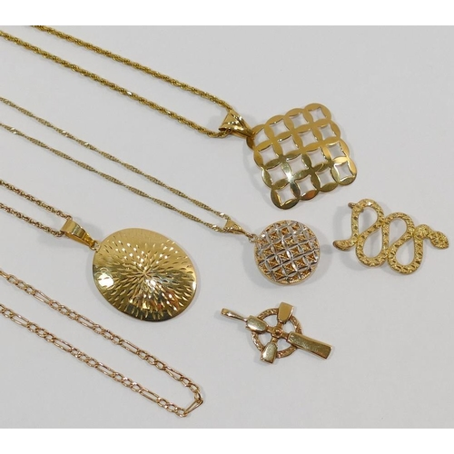276 - Four 9 carat gold modern pendants and three chains, combined weight 19.6g, and a yellow metal pendan...