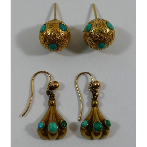 277A - A pair of Victorian gold and turquoise set drop earrings with hook backs, and a pair of Victorian go...