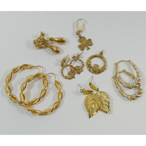 278 - Three pairs of 9 carat gold earrings and a pendant, combined weight 11.9g, and two pairs of yellow m...