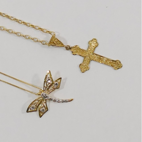282 - A 9 carat bi-colour gold dragonfly pendant, 2.4cm across, on 45cm chain, and another 9 carat gold pe...