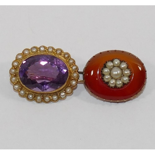 285 - A Victorian amethyst and half pearl oval brooch, stamped '15CT', 2.2cm x 1.7cm, 5.4g gross, an a Vic...