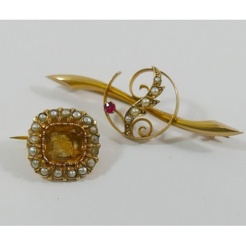 295 - A Victorian yellow topaz and half pearl cushion shaped gold brooch, a cultured pearl topped stick pi...