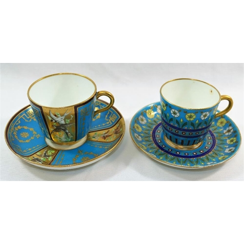 30 - A Minton porcelain cup and saucer with turquoise ground decorated in the manner of Christopher Dress...