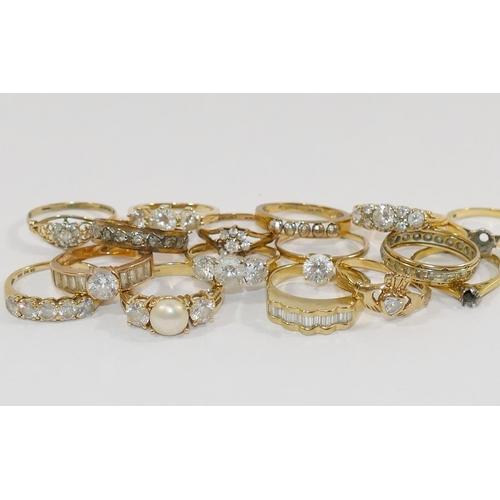 302 - Two 18 carat gold single stone ring mounts 5.2g, a 9 carat bi-colour gold ring, 2.4g, six 9 carat go...