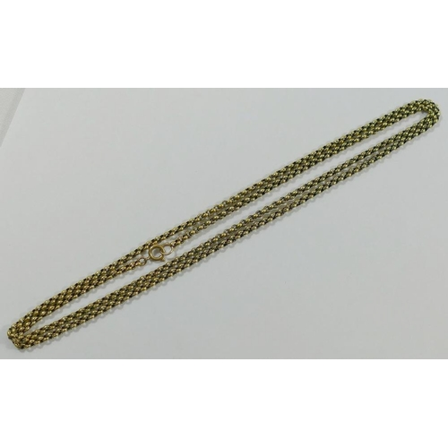 309 - A yellow metal fancy belcher link chain, 74.5cm long, the clasp stamped '9CT', 12.5g...