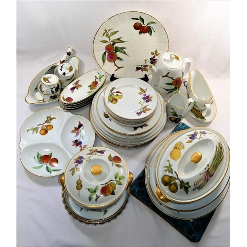 32 - An assortment of Royal Worcester 'Evesham' pattern items, mainly dinnerware, including plates, turee...