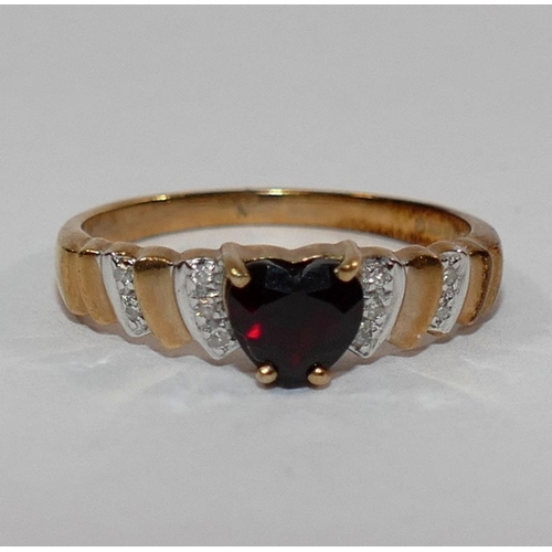 328 - A 9 carat gold garnet and diamond oval cluster ring, finger size P 1/2, a 9 carat gold garnet and di...