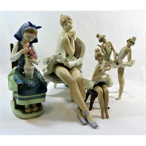 33 - Four Lladro porcelain figures, comprised of a ballerina on a chair, 24cm high, a Dutch girl seated o...