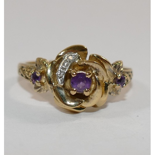 335 - A Brooks and Bentley 'Empress Josephine Rose' silver gilt ring, Birmingham 1994, set with amethyst a...