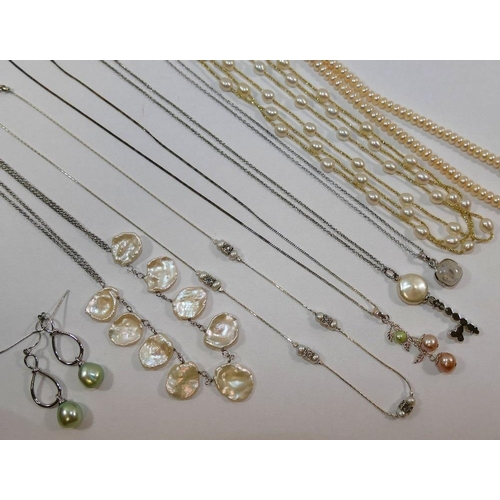 336 - Six silver coloured metal, cultured pearl and mother of pearl necklaces, stamped '925', a moonstone ...