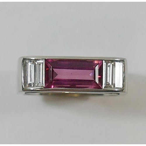 351 - An 18 carat white gold pink tourmaline and diamond 'bridge' ring, London 2002 by Nick Kellett, the b...