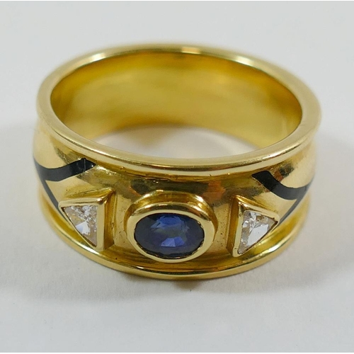 360 - An 18 carat yellow gold sapphire, diamond and black enamel ring, London 1997 by Nick Kellett, the wi...
