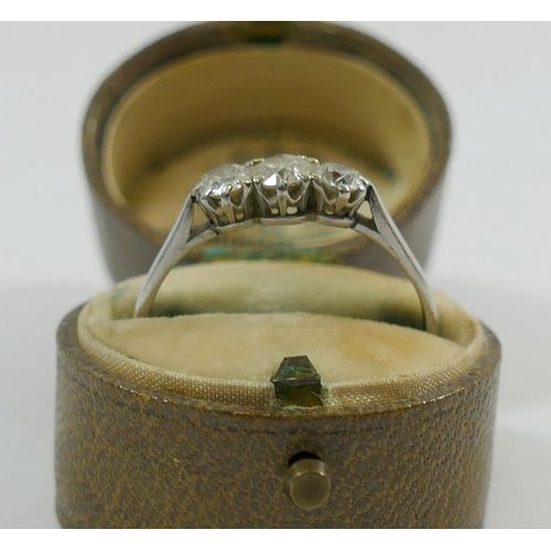 366 - A diamond three stone ring, the round brilliant cut diamonds approximately 0.20, 0.25 and 0.20 carat...