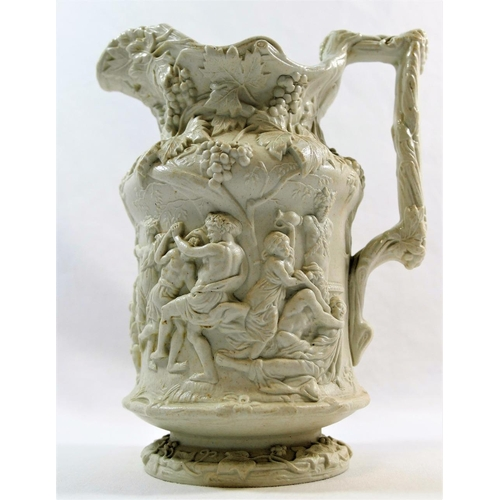 37 - A Charles Meigh 'Bacchanalian Dance' stoneware jug, with relief moulded registration mark to undersi...
