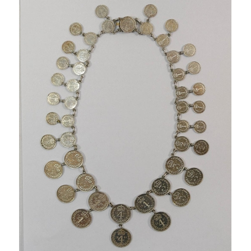 385 - A necklace made from 48 Victorian silver 1897 Maundy money coins, 50.4g gross...