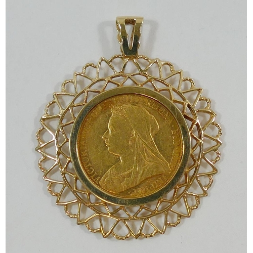 387 - A Victoria 1894 sovereign, minted in Melbourne, housed in removable 9 carat gold pendant mount, 12.2...