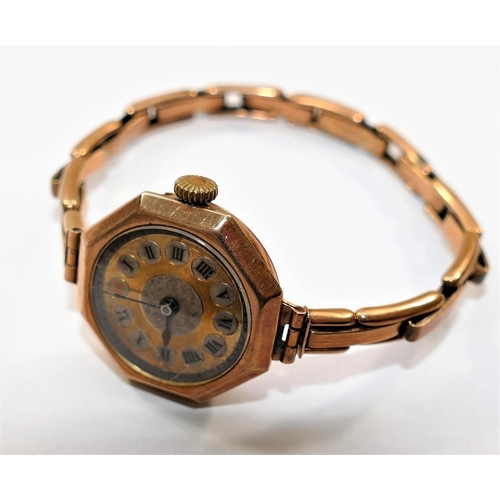 391 - An early 20th century Swiss 9 carat gold cased ladies bracelet watch, with import marks for Glasgow ...