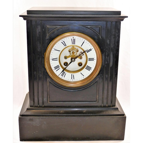 396 - A Victorian black slate mantle clock with visible brocot escapement, movement by J J Stockall and So...