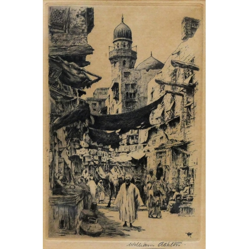 402 - William Ashton (1853-1927) Three Egyptian street scenes, probably Cairo Etchings All signed in penci...